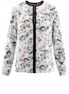 Блузка из струящейся ткани с контрастной отделкой oodji #SECTION_NAME# (белый), 11411059/43414/124AU