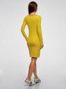 Платье трикотажное облегающего силуэта oodji для женщины (желтый), 14001183B/46148/6700N