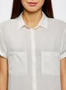 Блузка из вискозы с нагрудными карманами oodji #SECTION_NAME# (слоновая кость), 11400391-3B/24681/1200N - вид 4