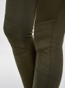 Брюки трикотажные на молнии oodji для женщины (зеленый), 18602002/33185/6900N