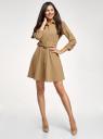Платье трикотажное с ремнем oodji для женщины (бежевый), 14011063/49851/3500N