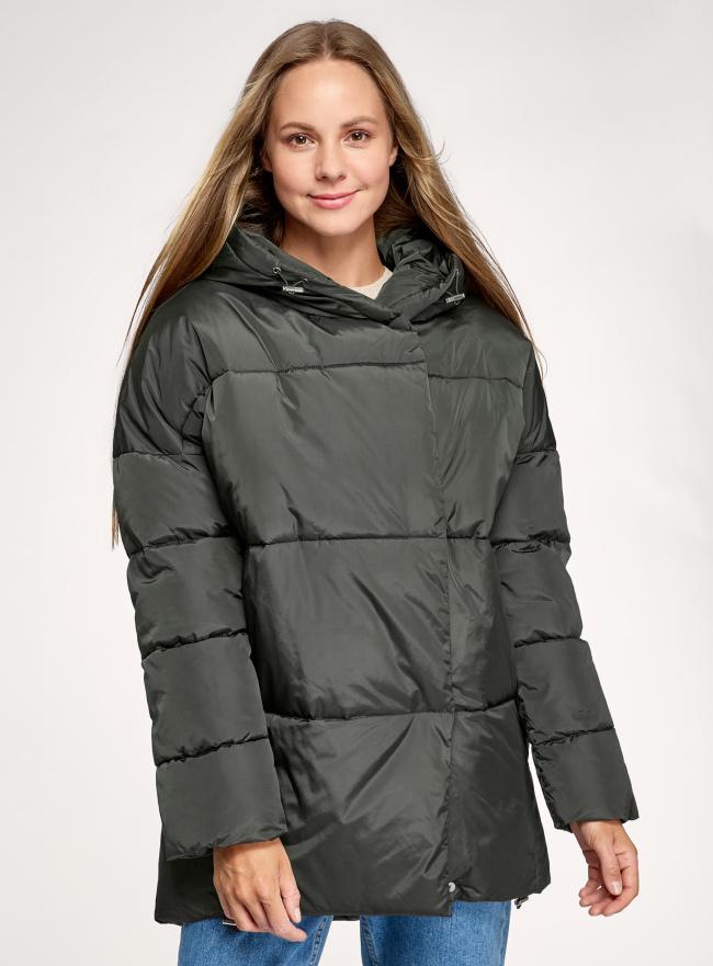 Куртка удлиненная с капюшоном oodji для женщины (зеленый), 10208004/45928/6800N
