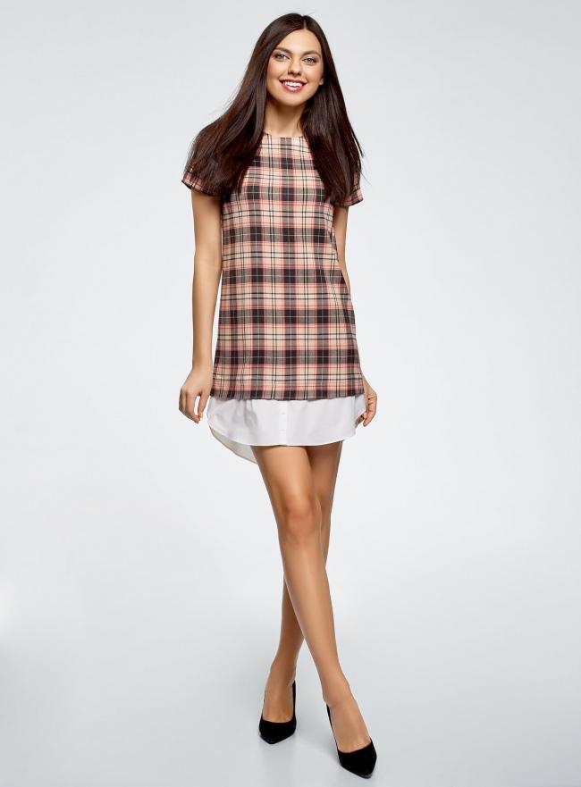 Платье прямого силуэта с декоративной вставкой oodji #SECTION_NAME# (розовый), 11911013-1/45879/4029C