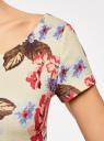 Платье приталенное с V-образным вырезом на спине oodji #SECTION_NAME# (разноцветный), 14011034B/42588/3070F - вид 5