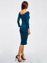 Платье облегающее с вырезом-лодочкой oodji #SECTION_NAME# (синий), 14017001-6B/47420/7901N - вид 3