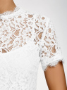 Блузка ажурная с коротким рукавом oodji #SECTION_NAME# (белый), 11401277/48132/1200L - вид 5
