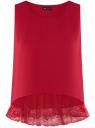 Топ с кружевной отделкой по низу oodji для женщины (красный), 14911012/43414/4501N