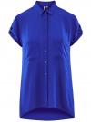 Блузка с короткими рукавами и карманами на пуговицах oodji для женщины (синий), 11400391-2B/24681/7500N