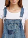 Комбинезон джинсовый с модными потертостями oodji #SECTION_NAME# (синий), 13109056-1/42559/7900W - вид 4
