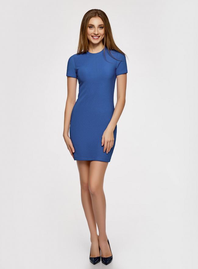 Платье трикотажное с коротким рукавом oodji для женщины (синий), 14011007/45262/7500N