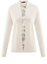 Кардиган из комбинированной ткани без застежки oodji для женщины (слоновая кость), 73212354-1/45641/3069F
