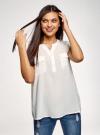 Блузка вискозная с нагрудными карманами oodji #SECTION_NAME# (белый), 21412132-6B/48756/1200N - вид 2