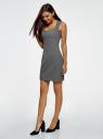 Платье базовое из плотной ткани с сердцевидным вырезом oodji для женщины (серый), 11902160/14917/2500M