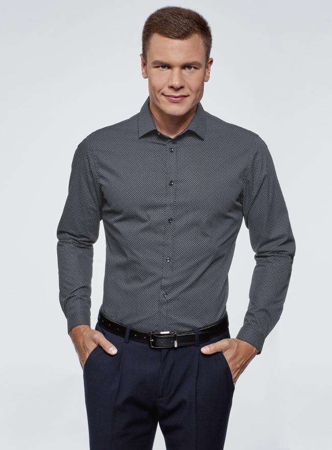 Рубашка хлопковая в мелкую графику oodji для мужчины (синий), 3L110339M/19370N/7974G