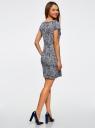 Платье трикотажное принтованное oodji #SECTION_NAME# (синий), 14001117-7/16564/7912O - вид 3