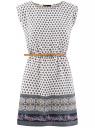 Платье вискозное с поясом базовое oodji для женщины (синий), 11910073-3/26346/1275E