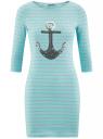 Платье трикотажное с декором из пайеток oodji #SECTION_NAME# (бирюзовый), 14001071-3/46148/7391P