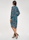 Платье шифоновое с асимметричным низом oodji для женщины (бирюзовый), 11913032/38375/7355E - вид 3