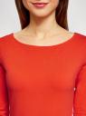 Платье трикотажное базовое oodji #SECTION_NAME# (оранжевый), 14001071-2B/46148/4500N - вид 4