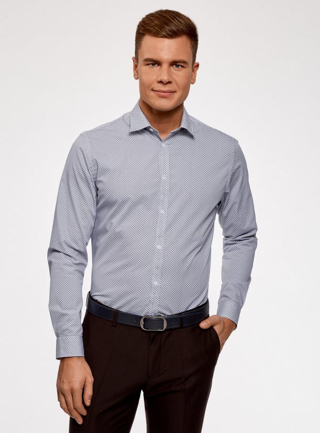 Рубашка приталенная из хлопка oodji #SECTION_NAME# (синий), 3L110300M/19370N/1079G