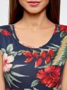 Платье трикотажное с принтом oodji для женщины (синий), 14008014-1/16300/7919F
