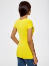 Футболка базовая приталенная oodji для женщины (желтый), 14701005-7B/46147/5100N - вид 3
