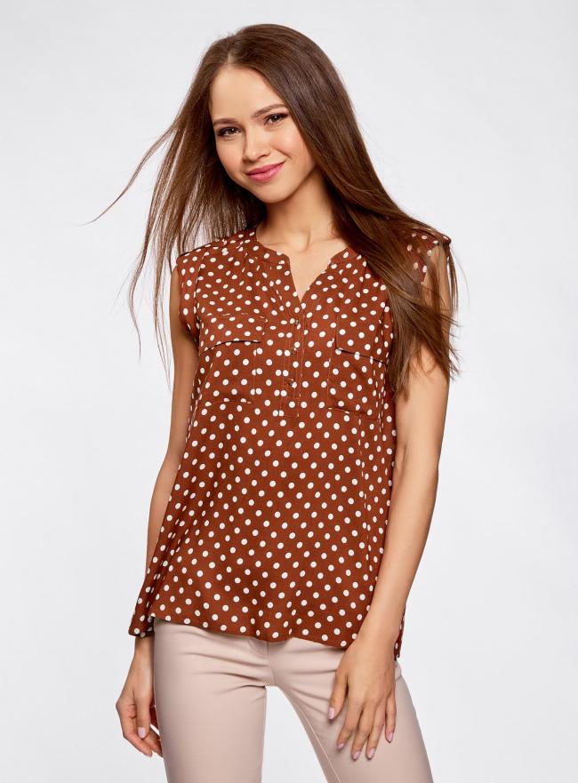 Блузка принтованная из вискозы с двумя карманами oodji #SECTION_NAME# (коричневый), 21412132/24681/3912D
