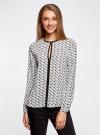 Блузка из струящейся ткани с контрастной отделкой oodji #SECTION_NAME# (белый), 11411059B/43414/1229G - вид 2