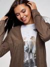 Кардиган без застежки с карманами oodji для женщины (коричневый), 63212589/45904/3900M - вид 4