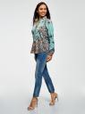 Блузка принтованная из легкого хлопка oodji для женщины (бирюзовый), 21411144-1/12836/7335E