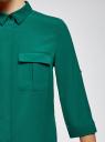 Блузка из струящейся ткани с нагрудными карманами oodji #SECTION_NAME# (зеленый), 11403225-6B/48853/6E02N - вид 5