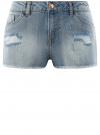 Шорты джинсовые с потертостями oodji #SECTION_NAME# (синий), 12807075-1/42559/7000W