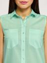 Топ базовый хлопковый oodji для женщины (зеленый), 11401250B/45510/6500N