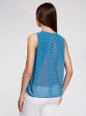 Блузка шифоновая без рукавов oodji #SECTION_NAME# (синий), 11411160/38375/7410D - вид 3