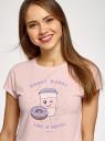 Пижама хлопковая с принтом oodji #SECTION_NAME# (розовый), 56002230/46154/4020P - вид 4