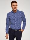 Рубашка принтованная приталенного силуэта oodji #SECTION_NAME# (синий), 3L310141M/46212N/7910E - вид 2