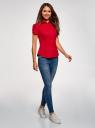 Рубашка хлопковая с коротким рукавом oodji #SECTION_NAME# (красный), 13K01004-1B/14885/4500N - вид 6