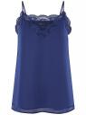 Топ в бельевом стиле с кружевной отделкой oodji для женщины (синий), 14911004-2B/17358/7500N