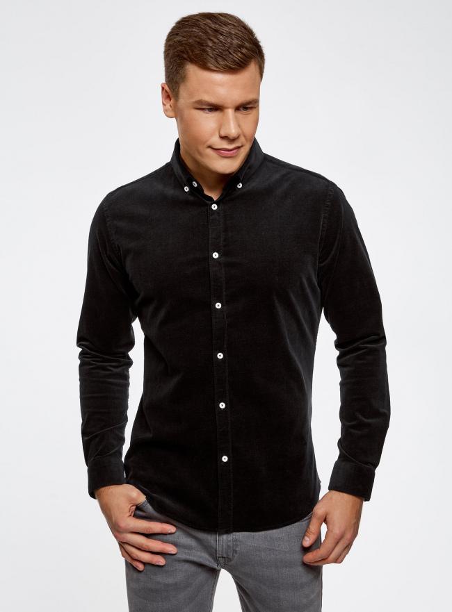 Рубашка slim из вельвета oodji #SECTION_NAME# (черный), 3L110218M/44424N/2900N