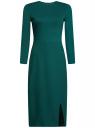 Платье-миди трикотажное с запахом на юбке oodji для женщины (зеленый), 24000305/45394/6E00N