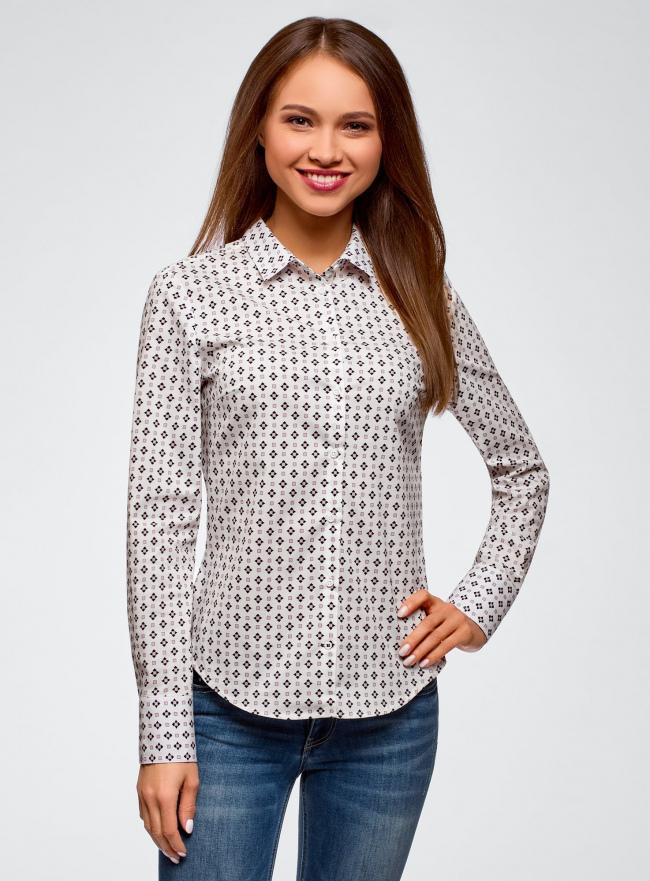 Рубашка хлопковая принтованная oodji для женщины (белый), 13K03001-2B/48461/1041G