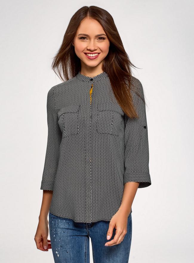 Блузка вискозная с регулировкой длины рукава oodji для женщины (черный), 11403225-5/26346/2957G