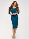 Платье облегающее с вырезом-лодочкой oodji для женщины (синий), 14017001/42376/6C01N