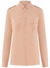 Блузка вискозная с нагрудными карманами oodji #SECTION_NAME# (розовый), 11411127-1B/42807/4B00N
