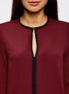 Блузка из струящейся ткани с контрастной отделкой oodji #SECTION_NAME# (красный), 11411059/43414/4900N - вид 4