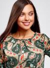 Блузка свободного кроя с вырезом-капелькой oodji #SECTION_NAME# (зеленый), 21400321-2/33116/6945F - вид 4