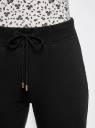 Брюки трикотажные на завязках oodji для женщины (черный), 16701053B/47906/2900N