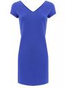 Платье с коротким рукавом и V-образным вырезом oodji для женщины (синий), 14001164/16720/7500N