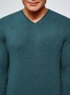 Пуловер базовый с V-образным вырезом oodji #SECTION_NAME# (зеленый), 4B212007M-1/34390N/6901M - вид 4