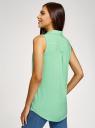 Топ вискозный с нагрудным карманом oodji для женщины (зеленый), 11411108B/26346/6500N